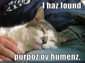 I haz found  purpoz ov humenz.