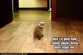 okis i is goin now  runnin aways 4evaz dunt stops me