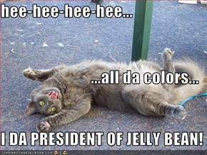hee-hee-hee-hee... ...all da colors... I DA PRESIDENT OF JELLY BEAN!