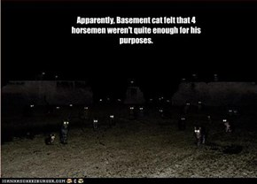 Apparently, Basement cat felt that 4 horsemen weren't quite enough for his purposes.