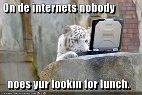 On de internets nobody     noes yur lookin for lunch.