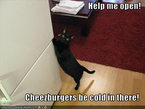 Help me open!  Cheezburgers be cold in there!