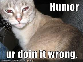 Humor  ur doin it wrong.