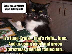 It's June, Erma... That's right... June. And ur using a red and green  Christmas-themed tablecloth...