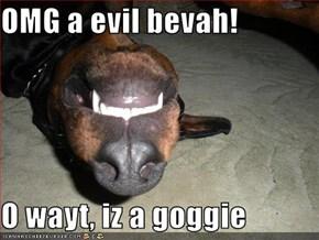 OMG a evil bevah!  O wayt, iz a goggie