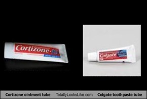 Cortizone ointment tube Totally Looks Like Colgate toothpaste tube
