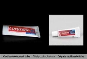Cortizone ointment tube Totally Looks Like Colgate toothpaste tube