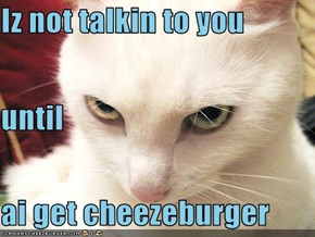 Iz not talkin to you until ai get cheezeburger
