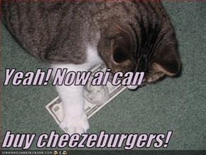 Yeah! Now ai can buy cheezeburgers!