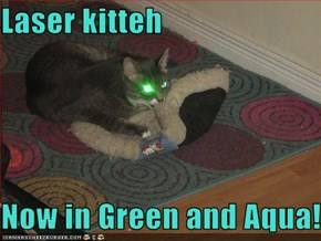 Laser kitteh  Now in Green and Aqua!