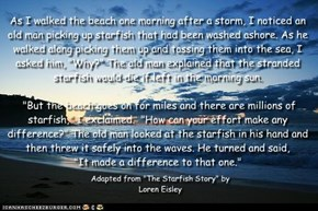 "As I walked the beach one morning after a storm, I noticed an old man picking up starfish that had been washed ashore. As he walked along picking them up and tossing them into the sea, I asked him, ""Why?"" The old man explained that the stranded starfish w"