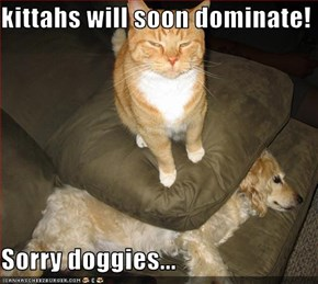 kittahs will soon dominate!  Sorry doggies...