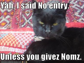Yah, I said No entry.  Unless you givez Nomz.