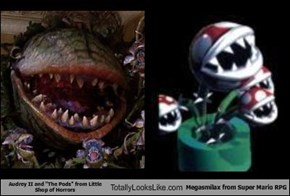 "Audrey II and ""The Pods"" from Little Shop of Horrors Totally Looks Like Megasmilax from Super Mario RPG"
