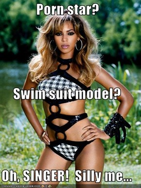 Pr0n star? Swim suit model? Oh, SINGER!  Silly me...