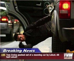 Breaking News - Tom Cruise pushed out of a mooving car by Lolcat. All hail Lolcat!