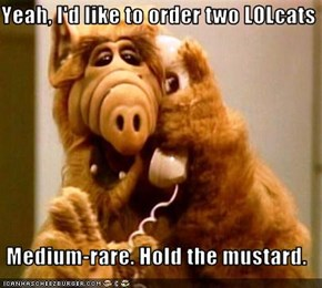 Yeah, I'd like to order two LOLcats  Medium-rare. Hold the mustard.