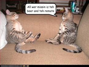 All wer missin iz teh beer and teh remote