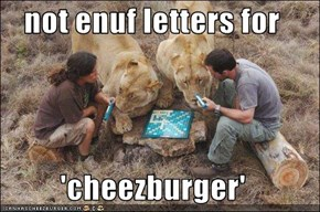 not enuf letters for  'cheezburger'