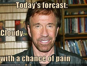 Today's forcast: Cloudy, with a chance of pain