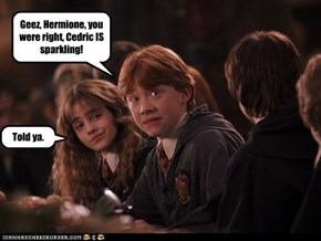 Geez, Hermione, you were right, Cedric IS sparkling!