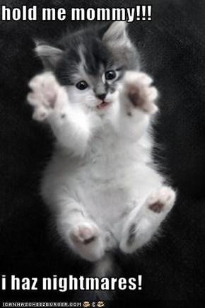 hold me mommy!!!  i haz nightmares!