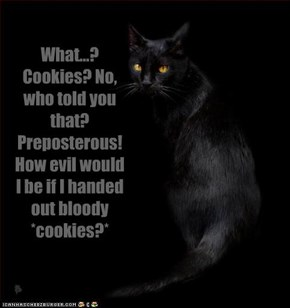 What...? Cookies? No, who told you that? Preposterous! How evil would I be if I handed out bloody *cookies?*
