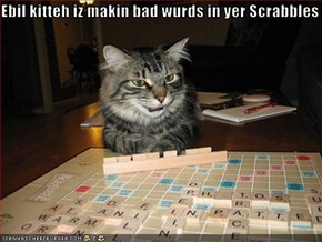 Ebil kitteh iz makin bad wurds in yer Scrabbles