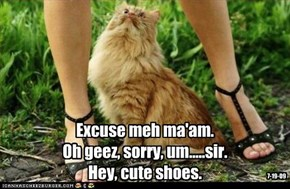 Excuse meh ma'am. Oh geez, sorry, um.....sir. Hey, cute shoes.