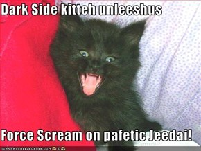 Dark Side kitteh unleeshus   Force Scream on pafetic Jeedai!