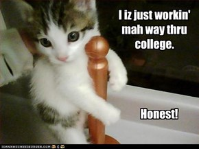 I iz just workin' mah way thru college.