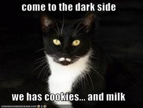 come to the dark side  we has cookies... and milk