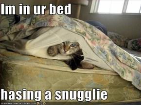 Im in ur bed  hasing a snugglie