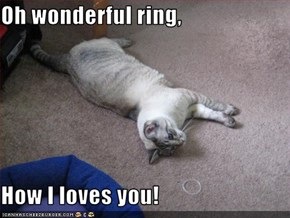 Oh wonderful ring,  How I loves you!