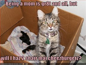Being a mom is gr8t and all, but  will I haz 2 shair mai cheezburgerz?