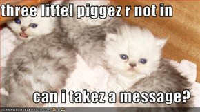 three littel piggez r not in  can i takez a message?