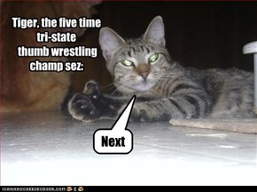 Tiger, the five time tri-state  thumb wrestling champ sez: