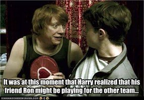 It was at this moment that Harry realized that his friend Ron might be playing for the other team...