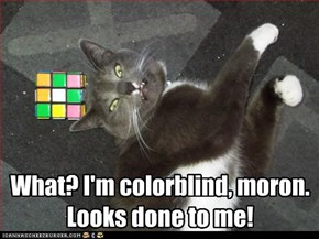 What? I'm colorblind, moron. Looks done to me!