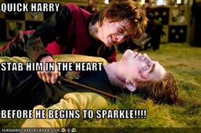 QUICK HARRY STAB HIM IN THE HEART BEFORE HE BEGINS TO SPARKLE!!!!