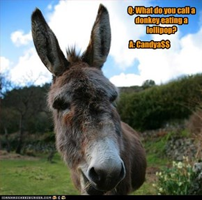 Q: What do you call a donkey eating a lollipop?
