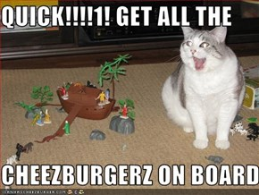 QUICK!!!!1! GET ALL THE   CHEEZBURGERZ ON BOARD!!!1!
