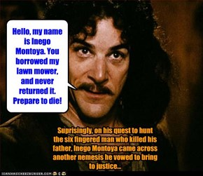 Suprisingly, on his quest to hunt the six fingered man who killed his father, Inego Montoya came across another nemesis he vowed to bring to justice...