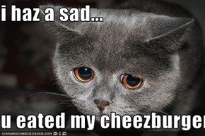 i haz a sad...  u eated my cheezburger