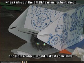 when kaitie put the GREEN heart in her buildabear  she didnt realize it would make it come alive