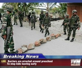 Breaking News -  Barriers are errected around preschool To stop kids leaving early
