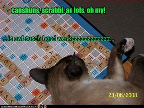 capshuns, scrabbl, an lols, oh my!