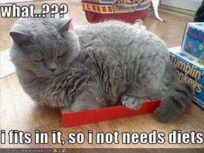 what..???  i fits in it, so i not needs diets