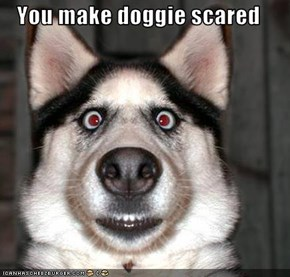 You make doggie scared
