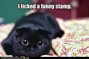 I licked a funny stamp.